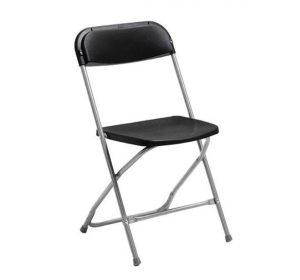 Fällbar stol med sits och rygg i plast SVART