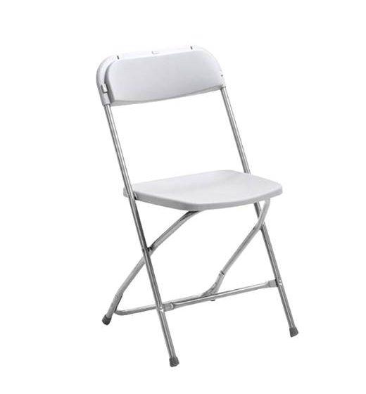 Fällbar stol med sits och rygg i plast VIT