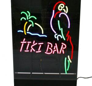 Neonskylt Tiki Bar med papegoja