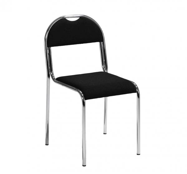 Stapelbar stol i tyg SVART/KROM
