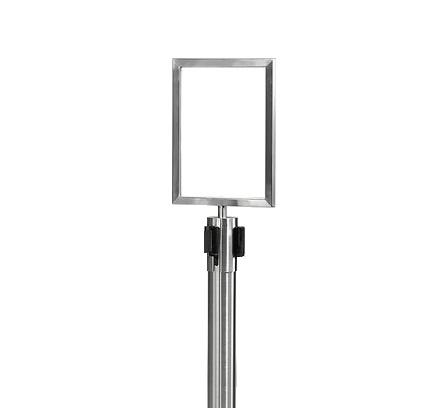 Skylthållare (A4) inkl. stolpe med utdragbart band SVART/KROM